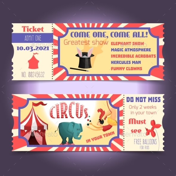 Circus Retro Tickets - Decorative Vectors