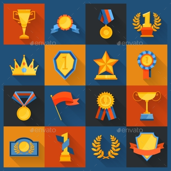 Award Icons Set Flat - Decorative Vectors