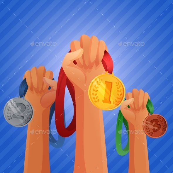 Winners Hands Holding Medals - Backgrounds Decorative