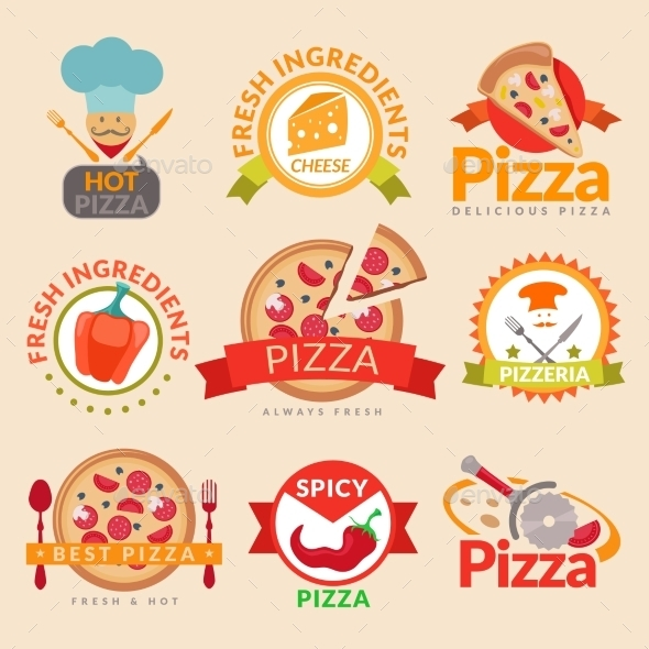 Pizzeria Labels Set - Food Objects