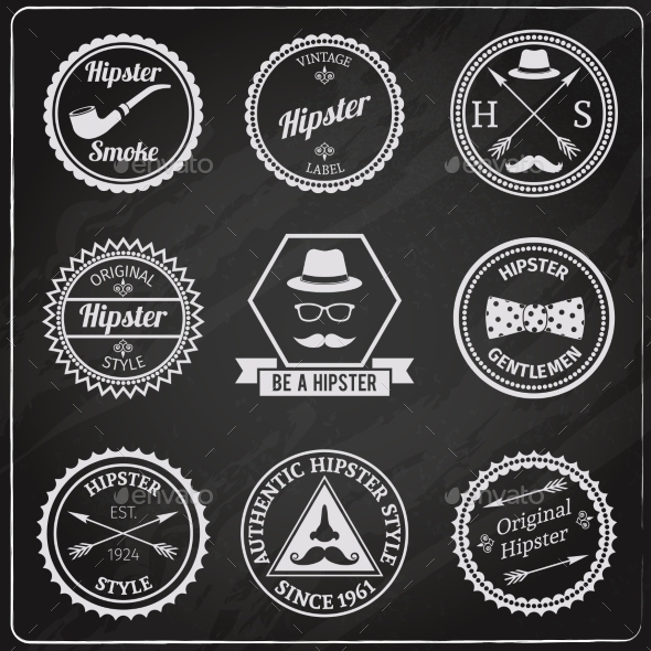 Hipster Labels Chalkboard - Decorative Vectors
