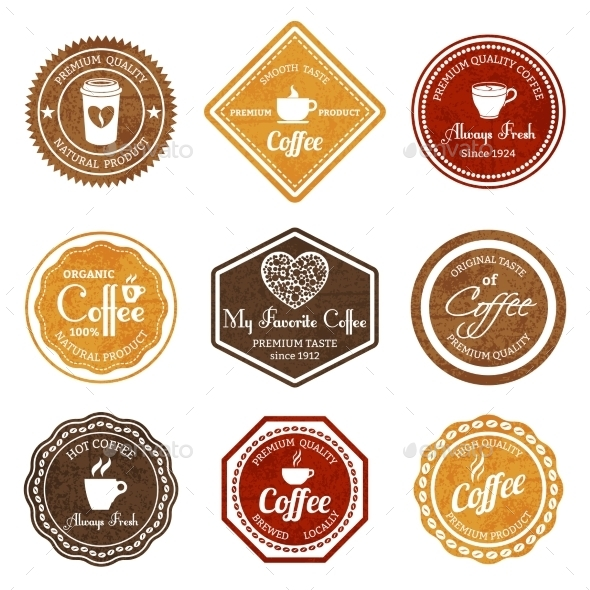 Coffee Retro Labels Set - Food Objects
