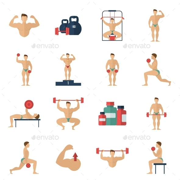 Bodybuilding Icons Set - Sports/Activity Conceptual