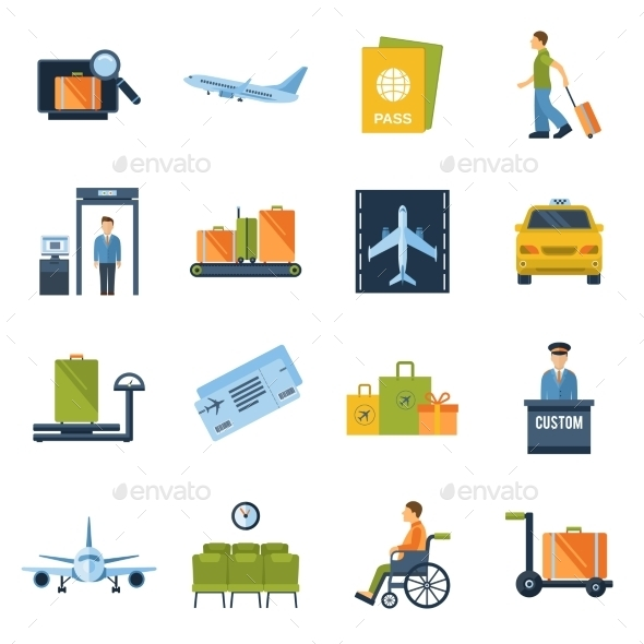 Airport Icons Flat - Travel Conceptual