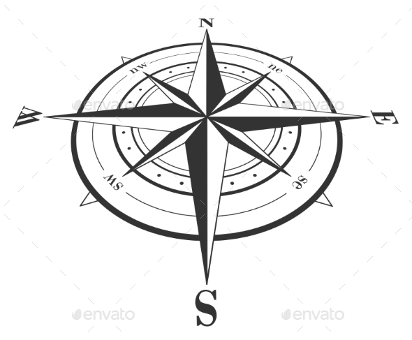 Compass Rose Isolated on White - Travel Conceptual