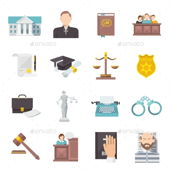 Law Icon Flat - Miscellaneous Icons