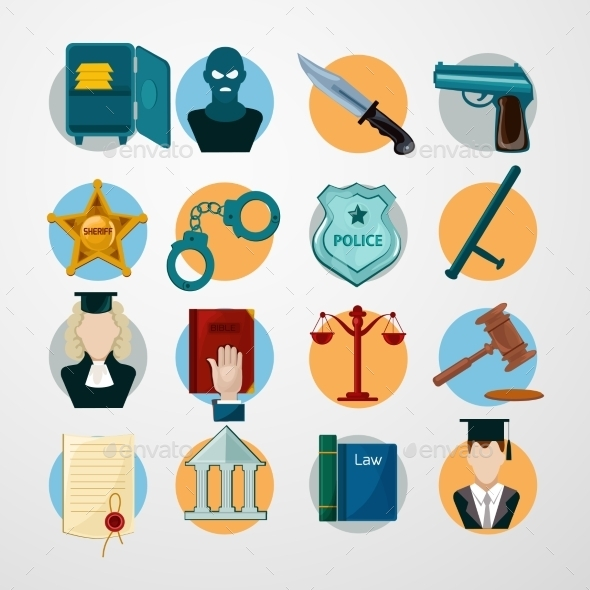 Law Icons Flat - Miscellaneous Vectors