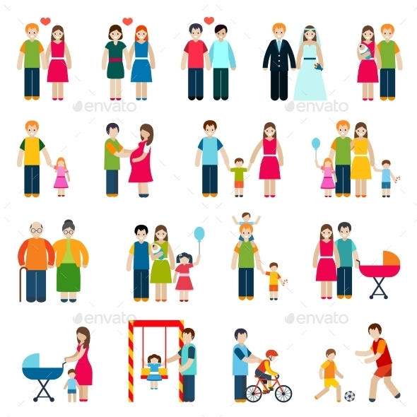 Family Figures Icons - People Characters