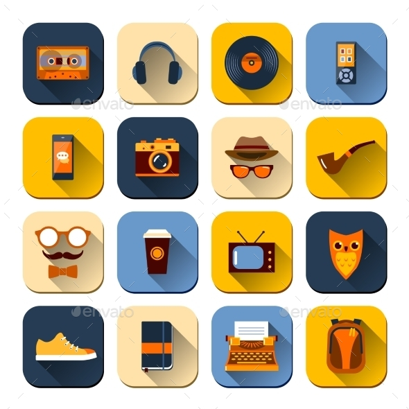 Hipster Icons Set - Web Icons