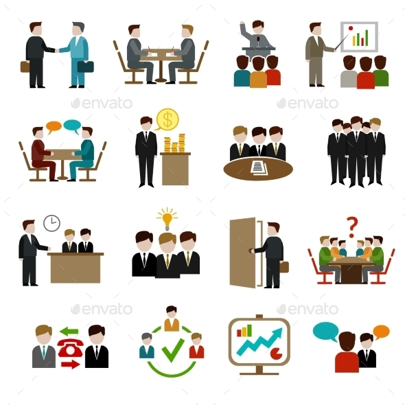Meeting Icons Set - Concepts Business