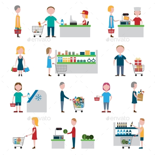 Supermarket People Set - Retail Commercial / Shopping