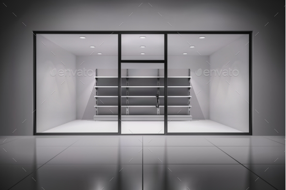Store Interior With Shelves - Backgrounds Decorative