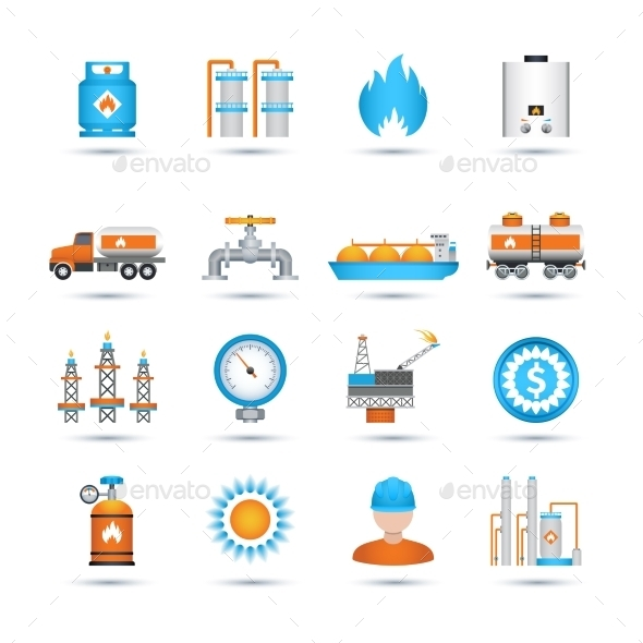 Gas Icons Set - Industries Business