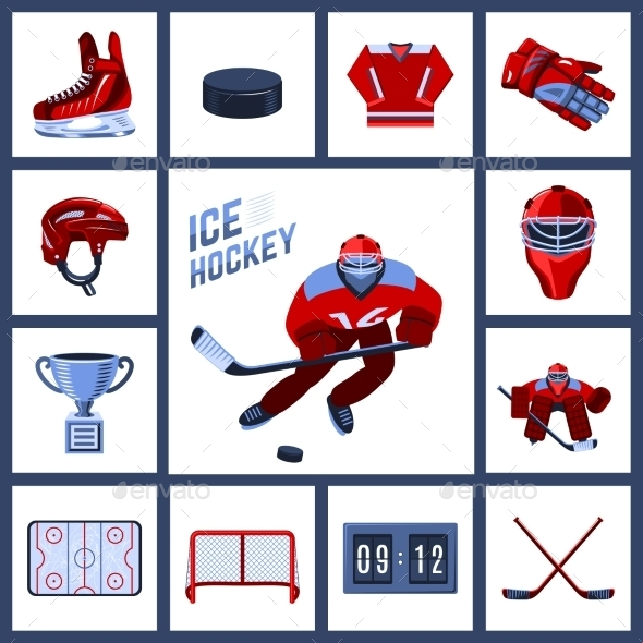 Hockey Icon Set - Sports/Activity Conceptual