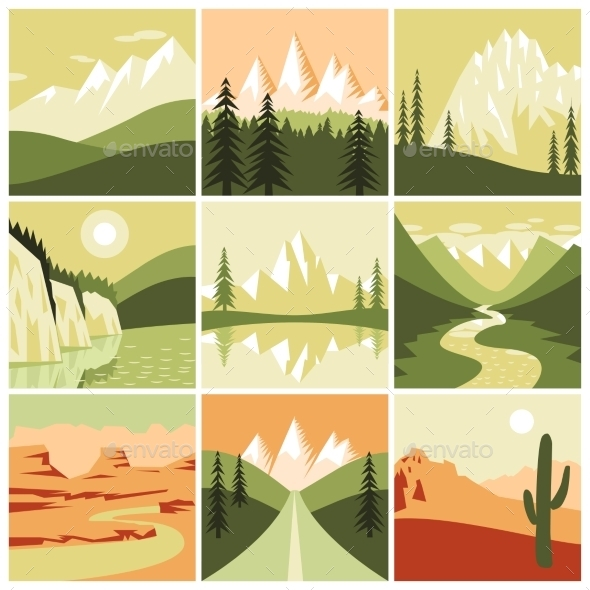 Nature Mountain Icons - Landscapes Nature