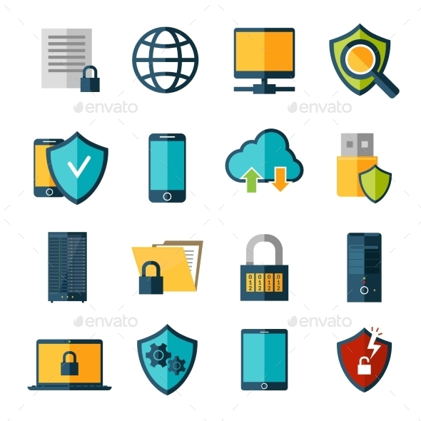 Data Protection Icons Set - Technology Icons