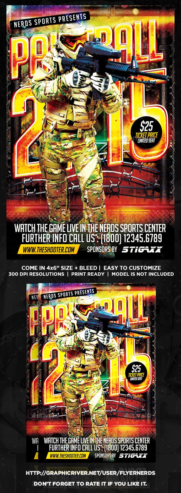 Paintball 2K15 Competition Sports Flyer - Sports Events
