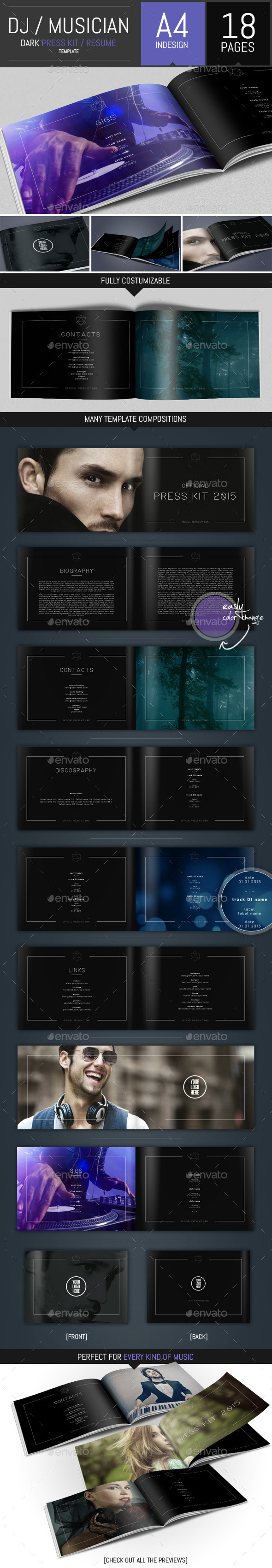 Dj and Musician Dark Press Kit / Resume Template by DogmaDesign ...