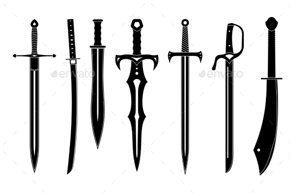 Icon Set of Ancient Swords - Man-made Objects Objects