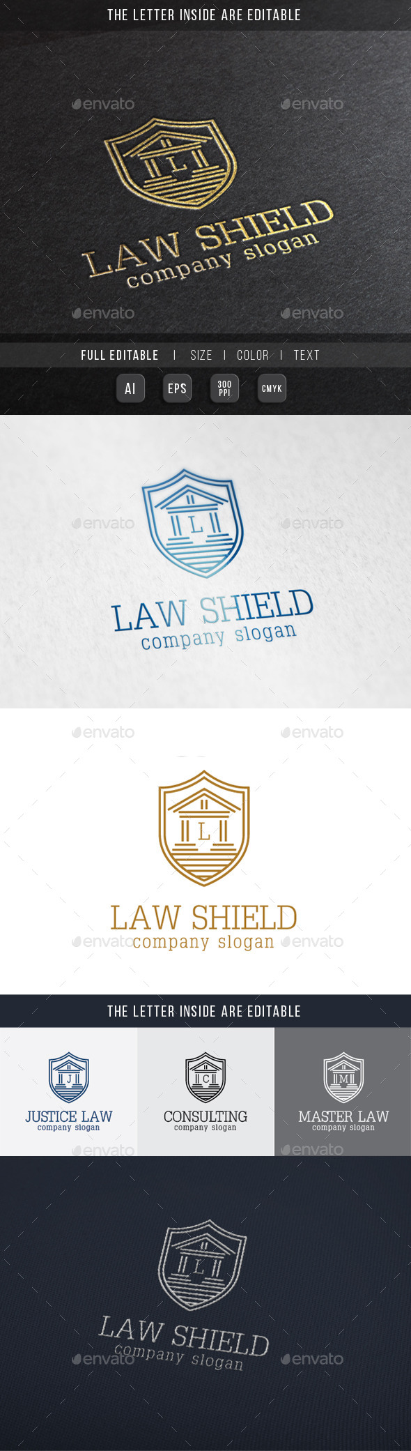 Law Shield - Justice Building Logo Template. - Crests Logo Templates