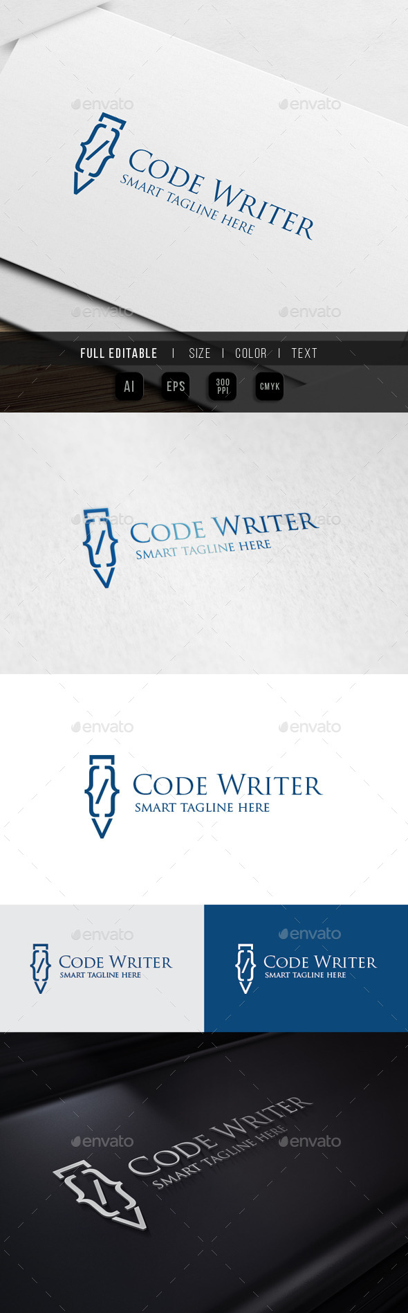 Pen Code - Coding Turorial - Abstract Logo Templates