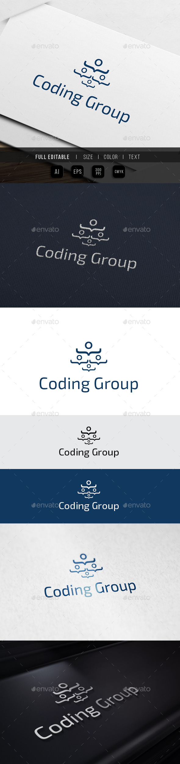 Coding Group - Geek Chat - Humans Logo Templates