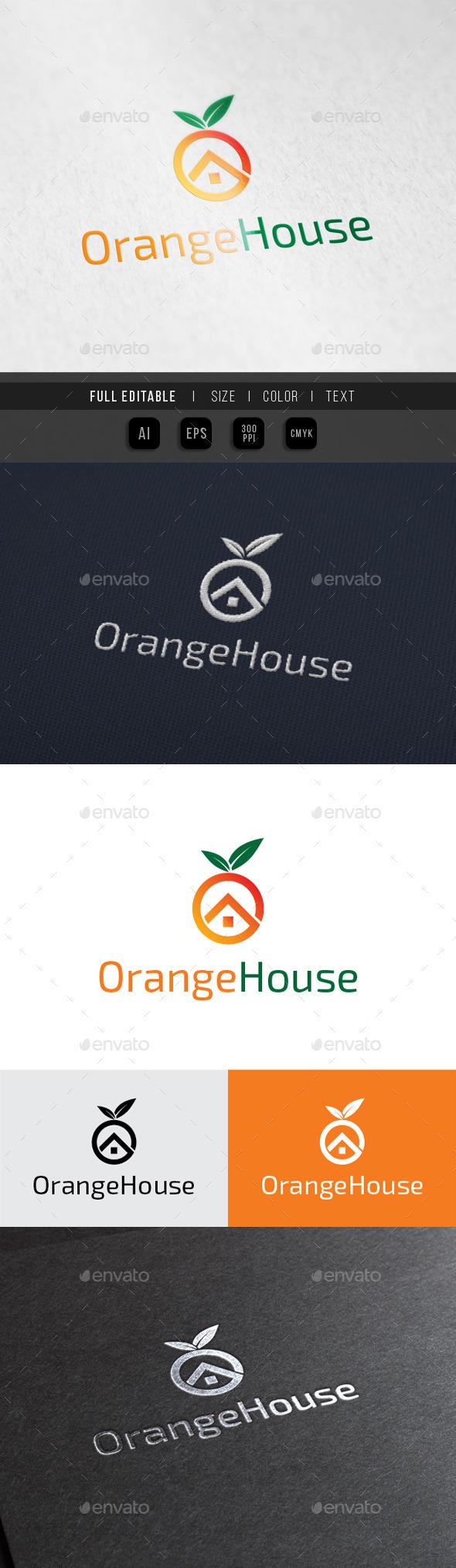 Orange House - Fruit Juice shop - Buildings Logo Templates
