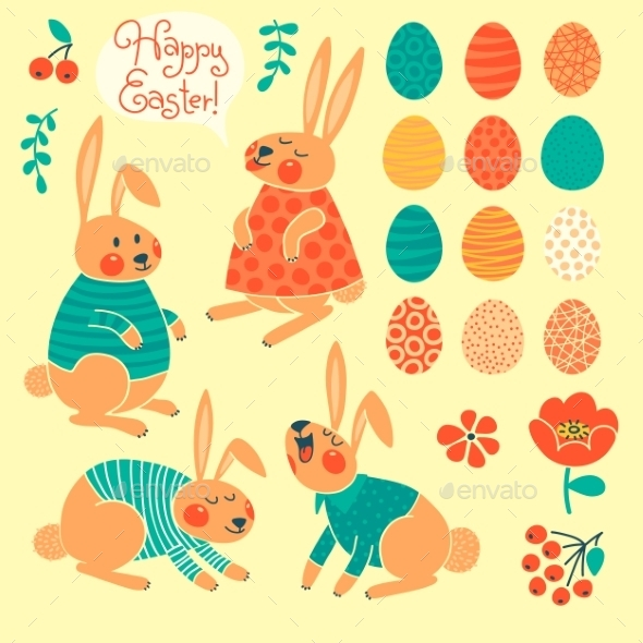 Set of Elements for Happy Easter Design - Miscellaneous Seasons/Holidays