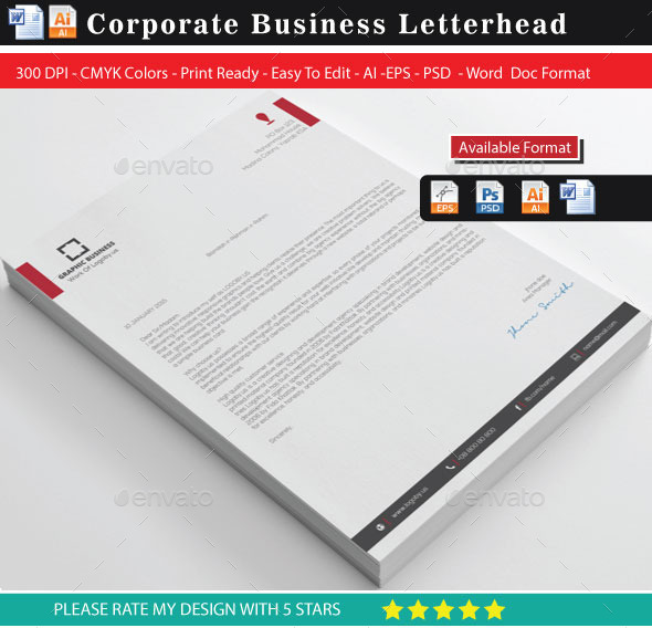 Corporate Letterhead By Shujaktk  Graphicriver