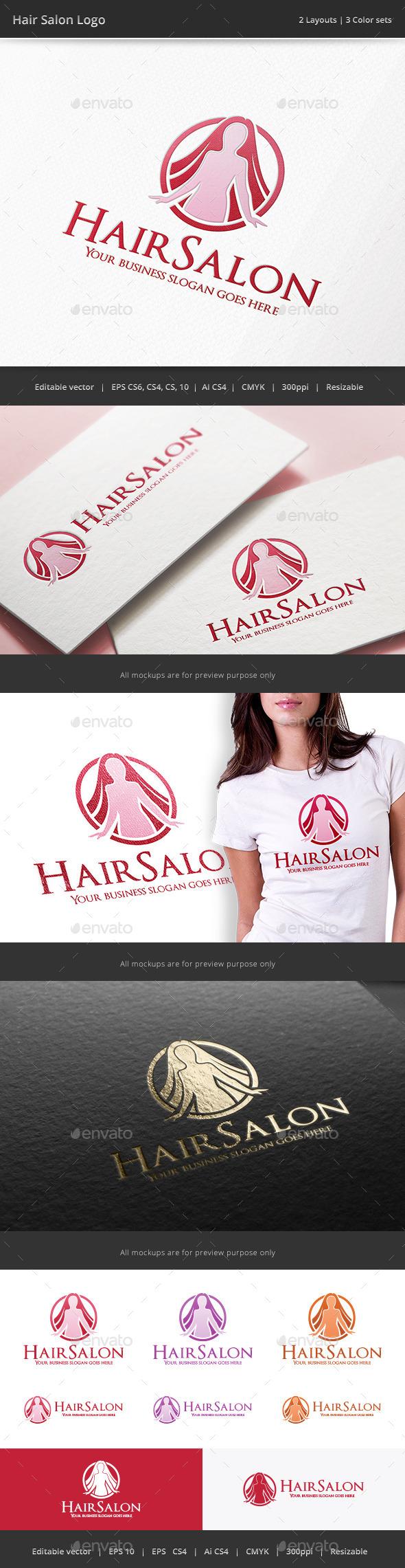 Hair Salon Woman Logo - Humans Logo Templates