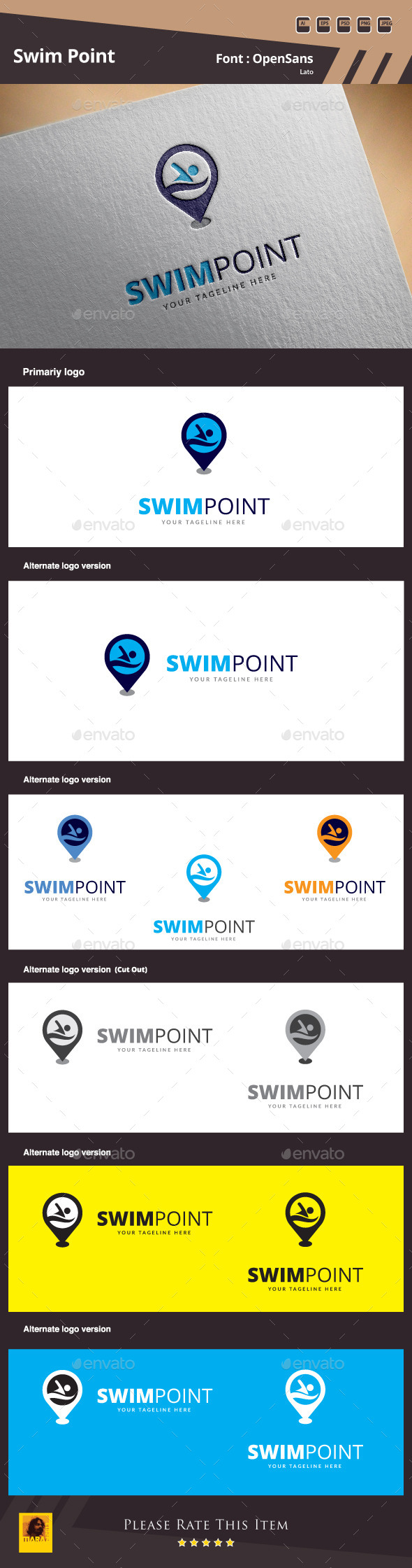 Swim Point Logo Template - Symbols Logo Templates