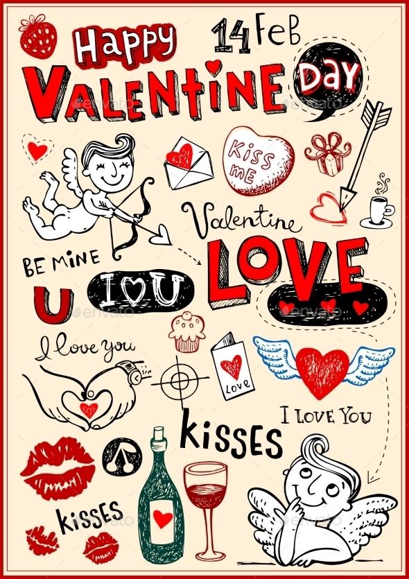 Valentine Doodles - Valentines Seasons/Holidays