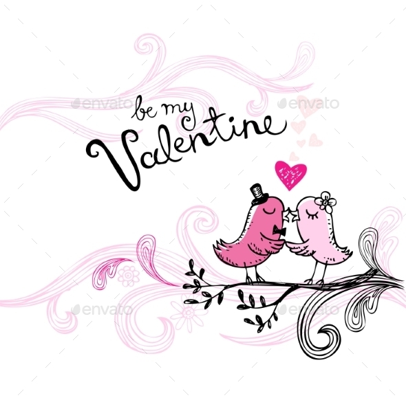 Valentine's Kissing Birds - Valentines Seasons/Holidays