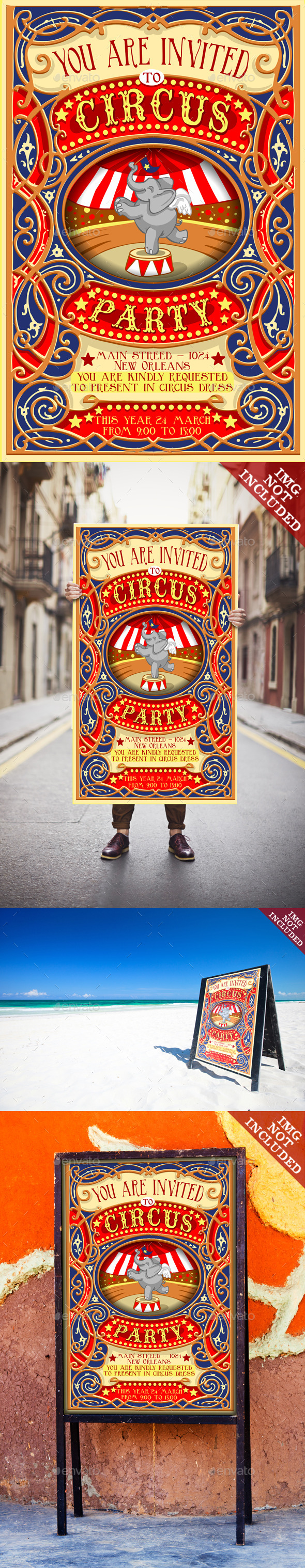 Poster Invite for Circus Party with Elephant - Retro Technology