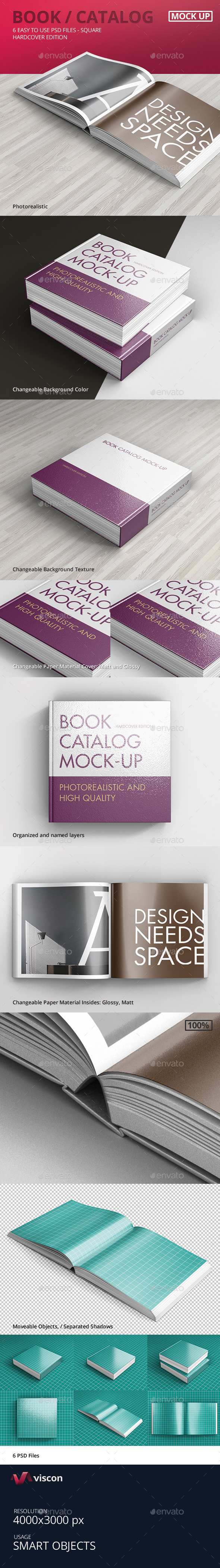 Book / Catalog Mock-Ups Hardcover Square - Books Print