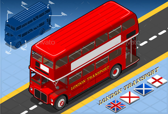 Isometric Double Decker Bus in Front View - Man-made Objects Objects