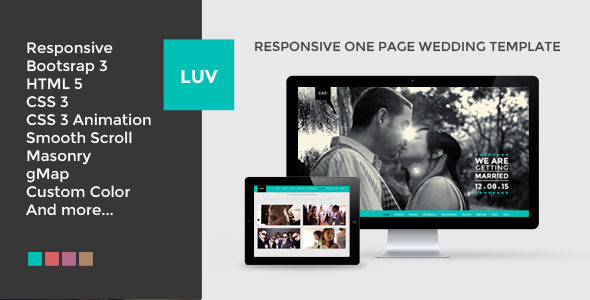 LUV – Responsive One Page HTML Wedding Template