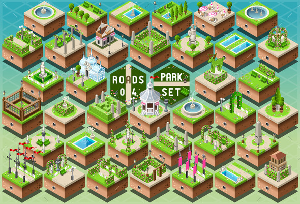 Isometric Accessories for Green City Park Set - Nature Conceptual