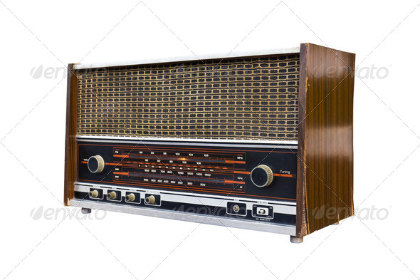 Old radio isolated1 - Stock Photo - Images
