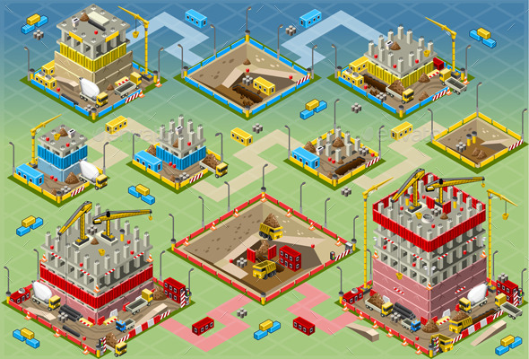 Isometric Building Construction Mega Set - Buildings Objects