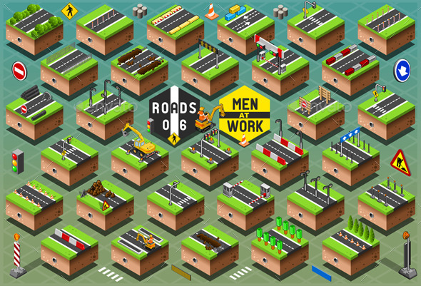Isometric Road Signs Set on Green Terrain - Buildings Objects