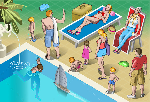 Isometric Tourists Peoples Set in Various Position - People Characters