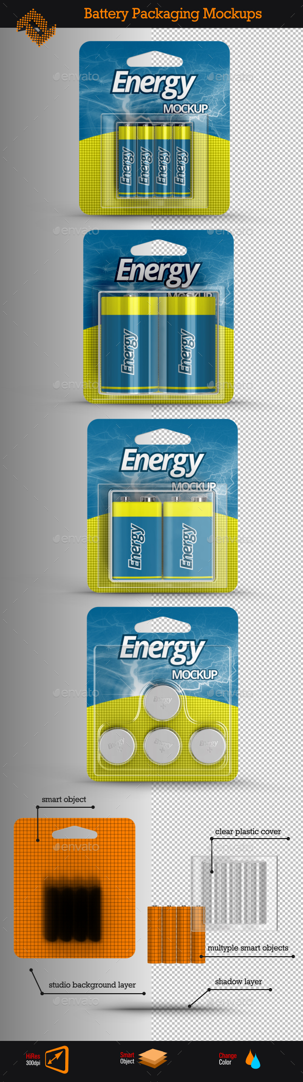 4 Battery Packaging Mockups - Miscellaneous Packaging
