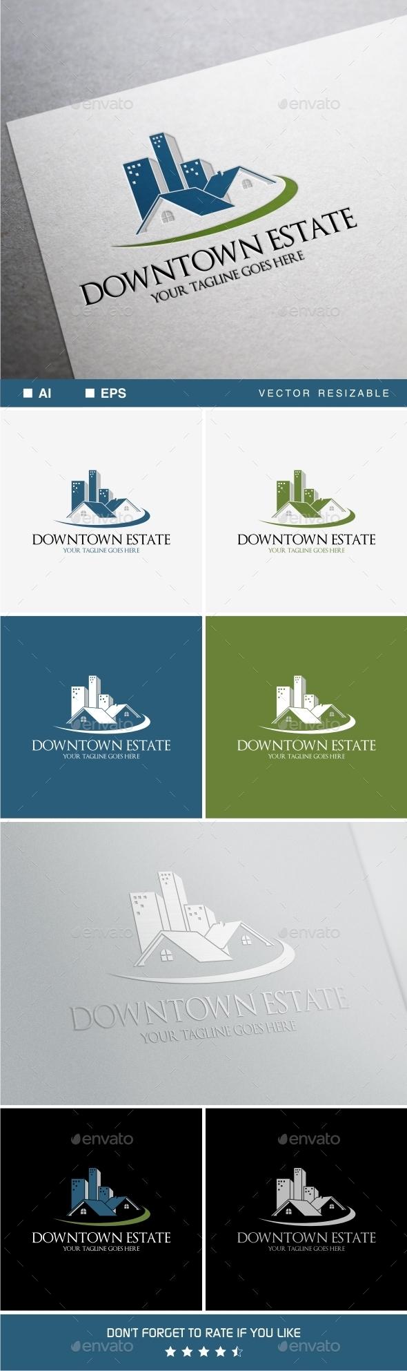 Downtown Estate Logo - Buildings Logo Templates