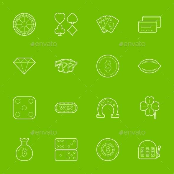 Casino Thin Lines Icons Set - Miscellaneous Conceptual