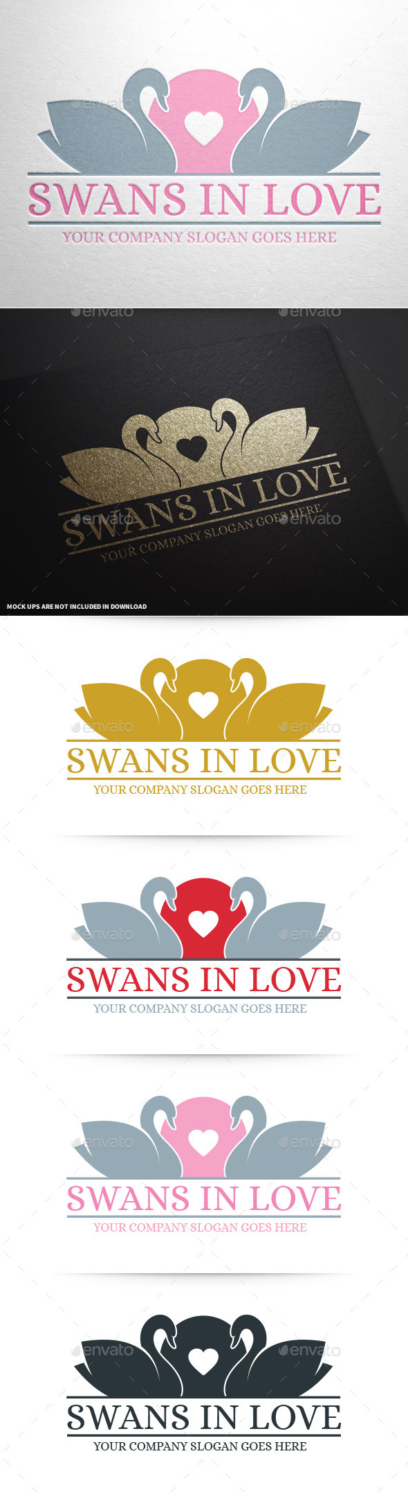 Swans In Love Logo - Animals Logo Templates