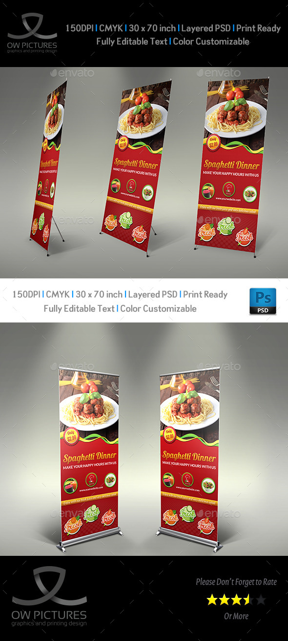 Restaurant  Rollup Signage Template Vol2 - Signage Print Templates