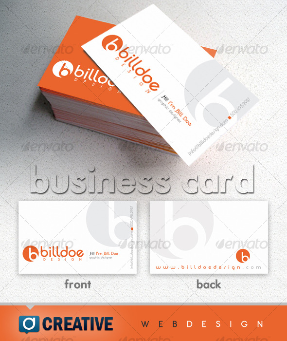 Clean Two Color Business Card - White & Orange - Creative Business Cards