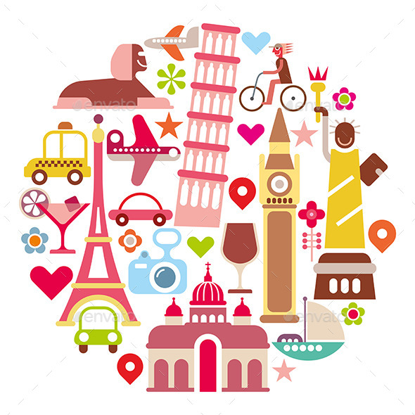 Landmark Travel Round Illustration - Travel Conceptual