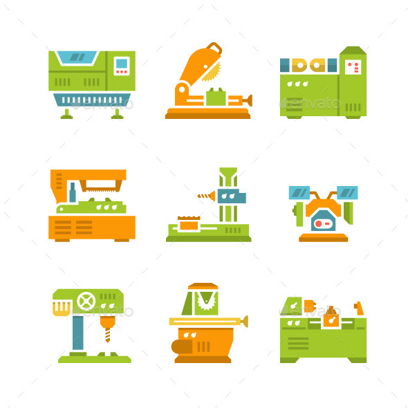 Set Flat Icons of Machine Tool - Man-made objects Objects